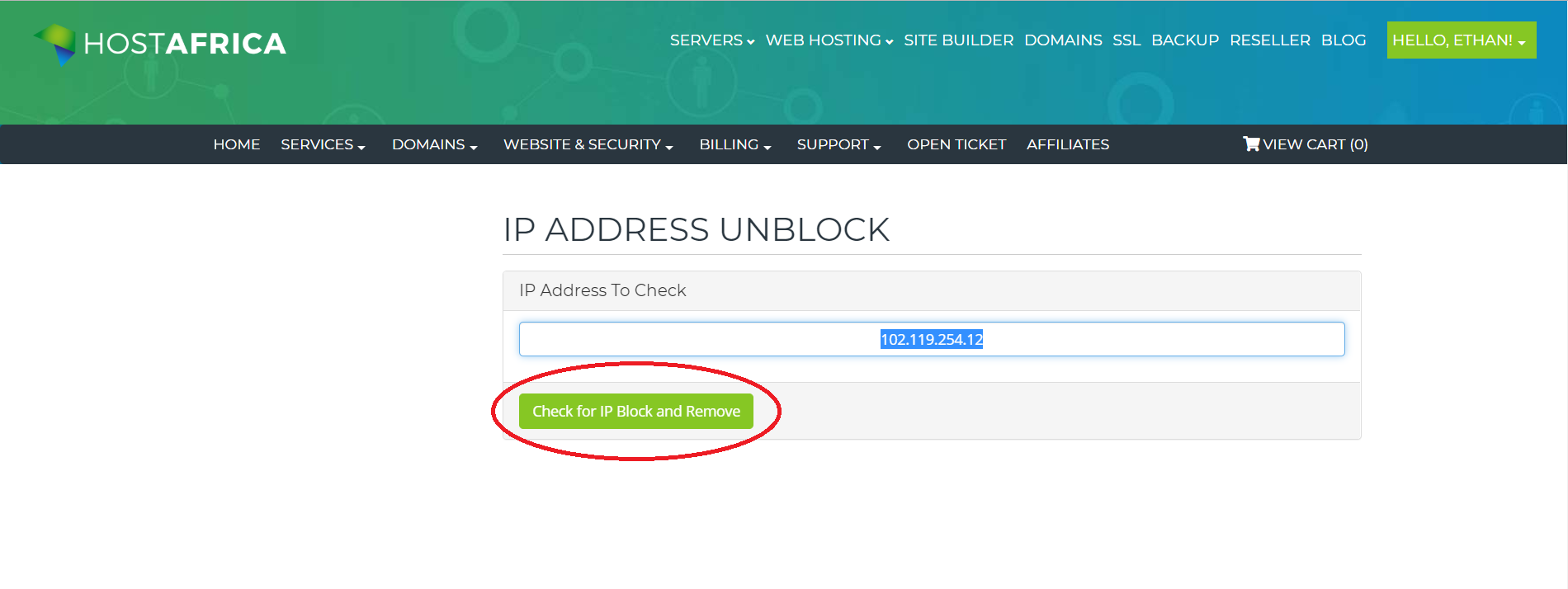 check for IP block and remove